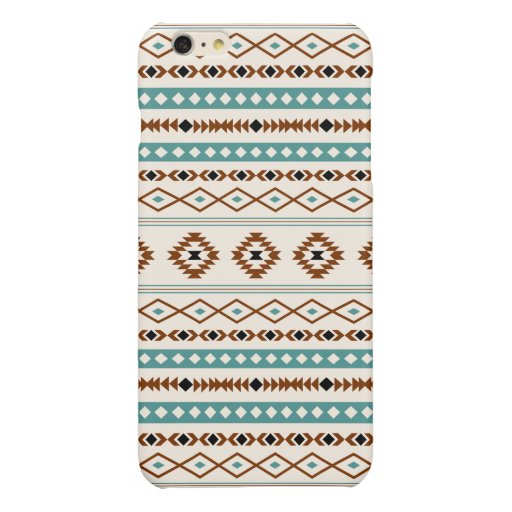 Aztec Teal Terracotta Black Cream Mixed Pattern Glossy iPhone 6 Plus Case