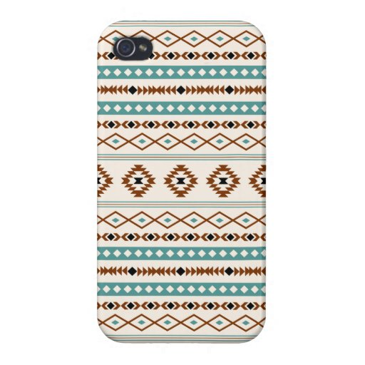 Aztec Teal Terracotta Black Cream Mixed Pattern Case For iPhone 4
