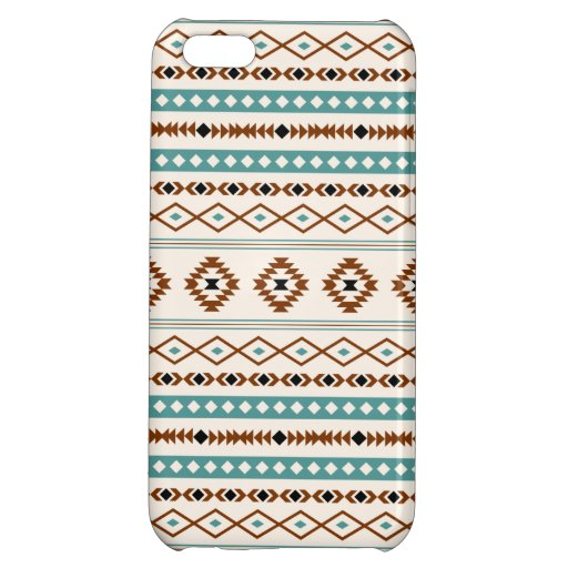 Aztec Teal Terracotta Black Cream Mixed Pattern Case For iPhone 5C