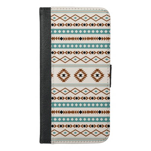 Aztec Teal Terracotta Black Cream Mixed Pattern iPhone 6/6s Plus Wallet Case