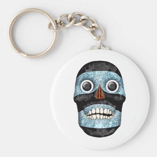 Aztec Tezcatlipoca Mask Basic Round Button Keychain