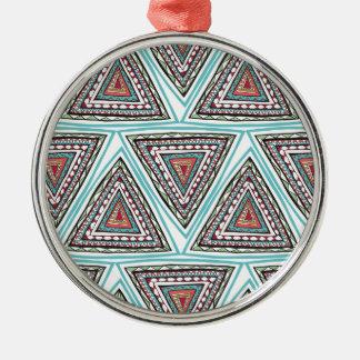 Aztec Triangles Metal Ornament