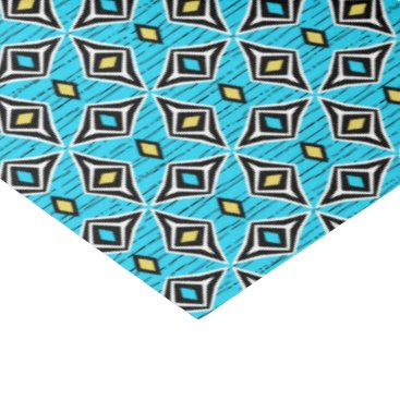 Beach Themed Aztec tribal  blue yellow diamond gems tissue paper