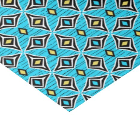 Aztec tribal  blue yellow diamond gems tissue paper