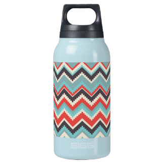 Aztec Tribal Chevron Zig Zag Pattern Red Blue Gray Insulated Water Bottle