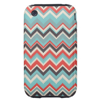 Aztec Tribal Chevron Zig Zag Pattern Red Blue Gray iPhone 3 Tough Cover