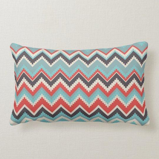 Aztec Tribal Chevron Zig Zag Pattern Red Blue Gray Lumbar Pillow