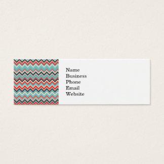 Aztec Tribal Chevron Zig Zag Pattern Red Blue Gray Mini Business Card