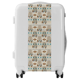 Aztec Tribal Dream Catchers Feathers Browns & Teal Luggage