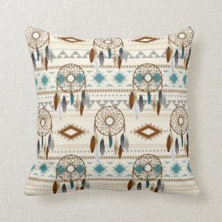 Aztec Tribal Dream Catchers Neutral Browns & Teal Throw Pillow