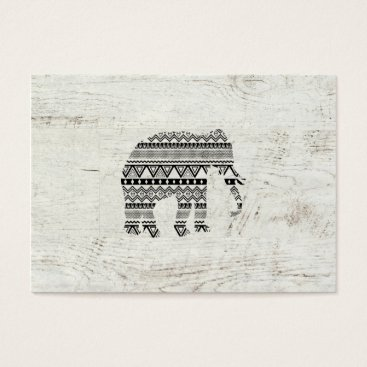 Aztec Themed Aztec Tribal Elephant Black White Vintage Wood Business Card