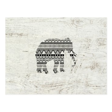 Aztec Themed Aztec Tribal Elephant Black White Vintage Wood Postcard