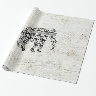 Aztec Tribal Elephant Black White Vintage Wood Wrapping Paper