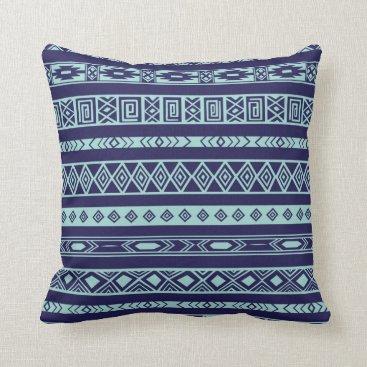 Aztec Themed Aztec Tribal Ethnic Geometric Pattern Navy Mint Throw Pillow