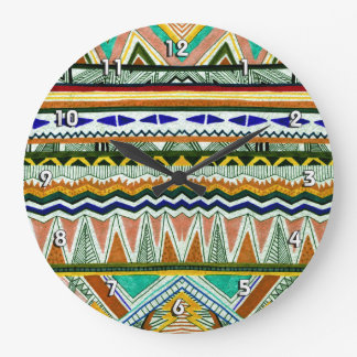 Aztec Tribal Fine Abstract Nature Print Large Clock