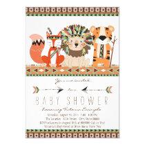 Aztec Tribal Fox Lion Tiger Baby Shower Invitation