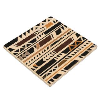 Aztec Tribal Geometric Maple Wood Coaster