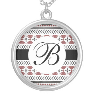Aztec Tribal Geometric Pattern Black Monogram Silver Plated Necklace