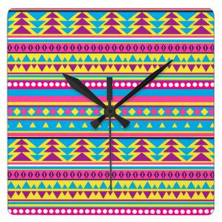 Aztec Tribal in Vivid Colors Square Wall Clock