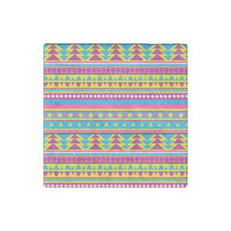 Aztec Tribal in Vivid Colors Stone Magnet