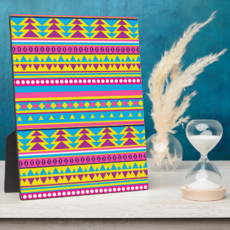Aztec Tribal in Vivid Colors Display Plaque