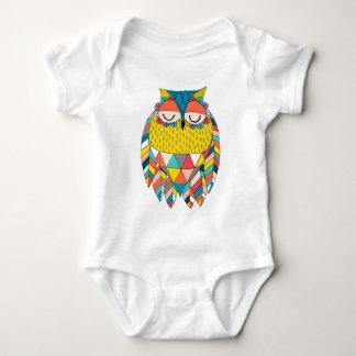 Aztec Tribal Modern Owl Illustration Baby Bodysuit