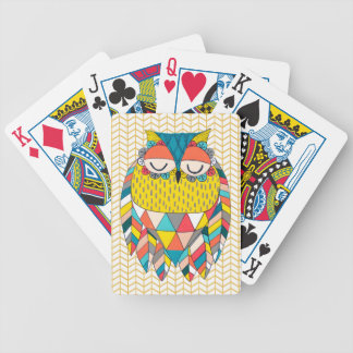 Aztec Tribal Modern Owl Illustration Playing Cards