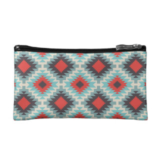 Aztec Tribal Native American Red Blue Pattern Cosmetics Bags