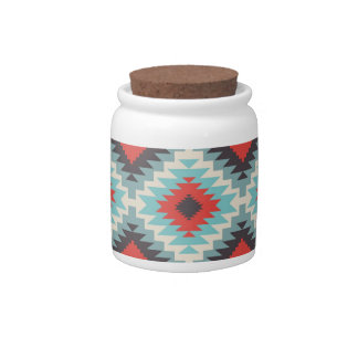 Aztec Tribal Native American Red Blue Pattern Candy Jars