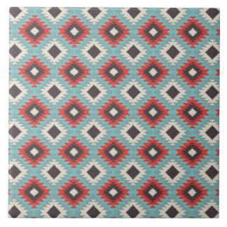 Aztec Tribal Native American Red Blue Pattern Gift Ceramic Tile