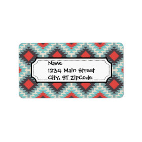 Aztec Tribal Native American Red Blue Pattern Personalized Address Label