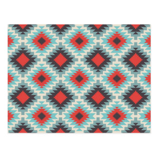 Aztec Tribal Native American Red Blue Pattern Postcard
