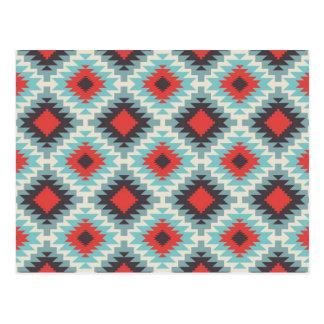 Aztec Tribal Native American Red Blue Pattern Postcard