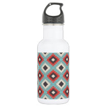 Aztec Tribal Native American Red Blue Pattern Stainless Steel Water Bottle