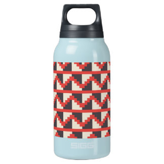 Aztec Tribal Native American Red Gray Zig Zags Insulated Water Bottle