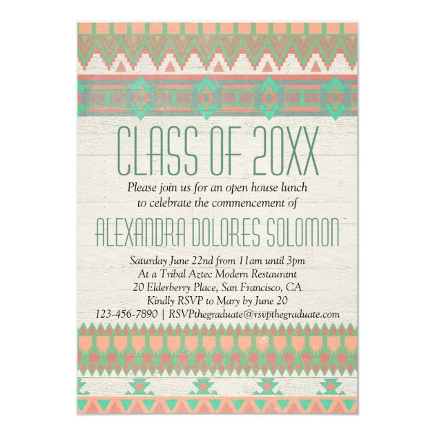 Aztec Tribal Native Graduation Party Announcement