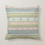 Aztec Tribal Native Pastel Geometric Pattern Throw Pillow