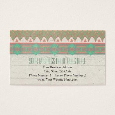 Aztec Themed Aztec Tribal Native Pastel Peach/Aqua Business Card