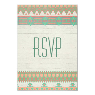 "Aztec Tribal Native Pastel Peach/Aqua 3.5"" X 5"" Invitation Card"