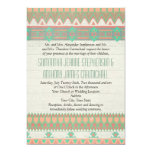 Aztec Tribal Native Pastel Peach/Aqua 5x7 Paper Invitation Card