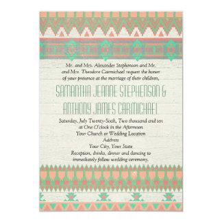 "Aztec Tribal Native Pastel Peach/Aqua 5"" X 7"" Invitation Card"