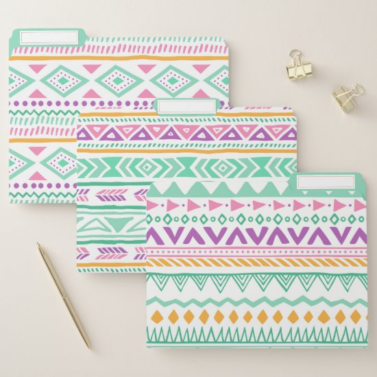 Aztec Tribal Pattern In teal Yellow Pink Purple File Folder