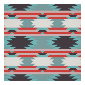 Aztec Tribal Pattern Native American Red Blue Poster