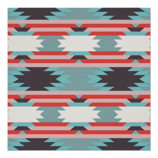 Aztec Tribal Pattern Native American Red Blue Posters