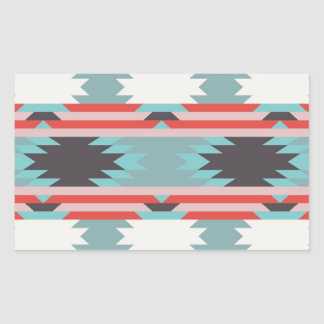 Aztec Tribal Pattern Native American Red Blue Rectangular Sticker