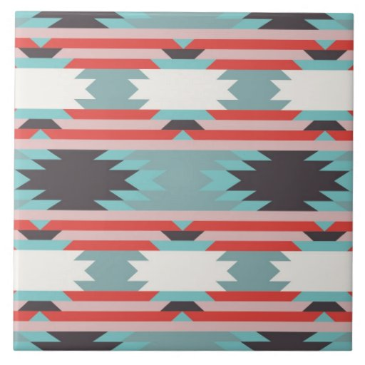 Aztec Tribal Pattern Native American Red Blue Tile