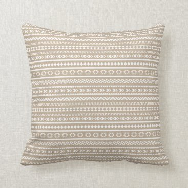 Aztec Themed Aztec Tribal Pattern / Sand and White Throw Pillow