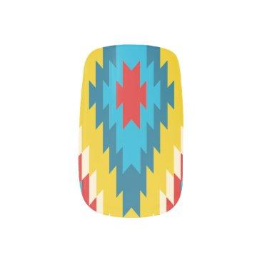 Aztec Tribal Pattern Yellow Red Blue Design Minx Nail Art