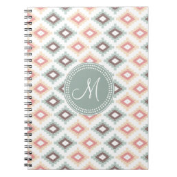 Aztec Tribal Pink Pink Monogram Pattern Notebook