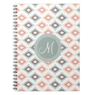 Aztec Tribal Pink Pink Monogram Pattern Spiral Notebooks